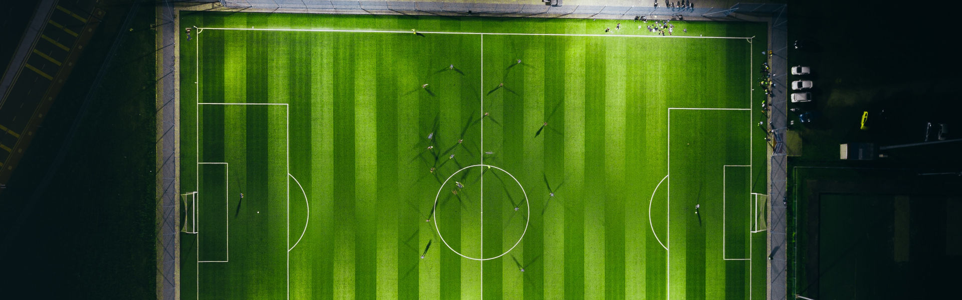 birds eye view photography green soccer field lights photo Free Green Image Unsplash