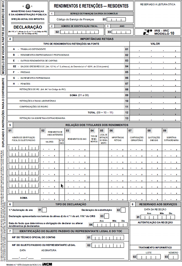 Modelo 3 IRS - Economias